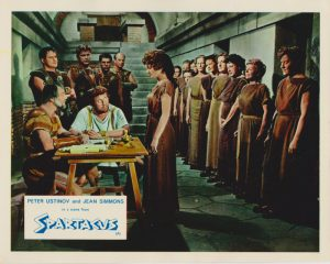 Peter Ustinov and Jean Simmons in a scene from Spartacus