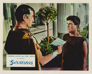 Laurence Olivier and Tony Curtis in a scene from Spartacus