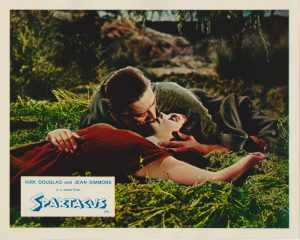 Kirk Douglas and Jean Simmons in a scene from Spartacus