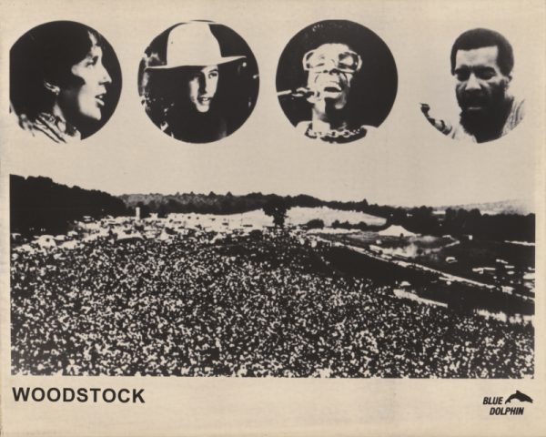 Part of the Woodstock crowd, with four key performers highlighted in circular images above