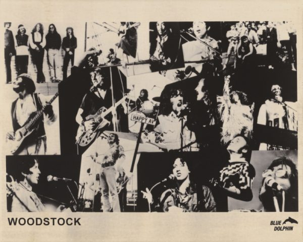 A collage style image showing several performers at Woodstock