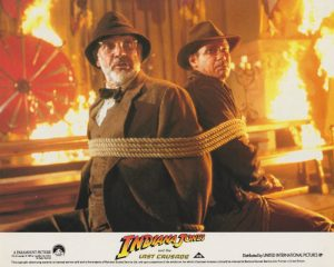 The most memorable marketing image from the film, featuring Sean Connery and Harrison Ford